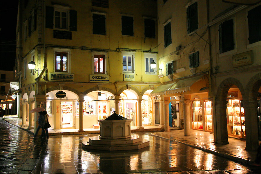 corfu town night